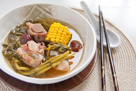 Watercress, Sweet Corn and Pork Ribs Soup