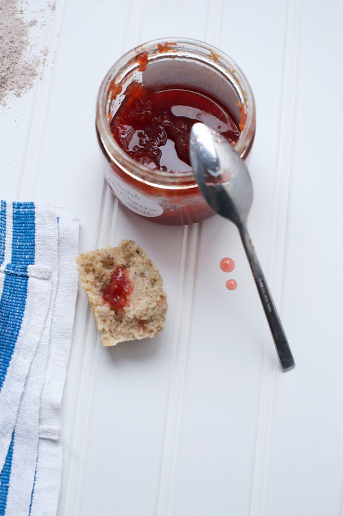 cherry jam and corn muffin
