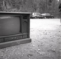 (Josh Sinn) Tags: wood blackandwhite bw 120 6x6 film television trash mediumformat tv md junk maryland baltimorecounty yashicamat124g joshsinn joshuasinn
