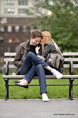 Secrets (Rafakoy) Tags: secret secrets couple love cute people girl guy boy young bench park brooklyn person depthoffield depth focus bokeh digital nikond7000 afnikkor105mmf2ddc jeans grass color colors colour colours ny newyork