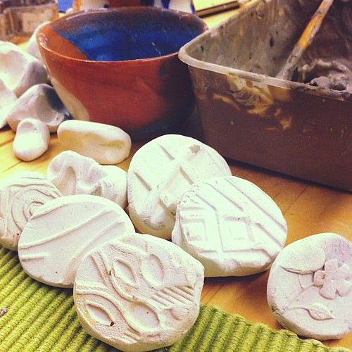 Clay stamps - made from the bottom of people's #shoes.