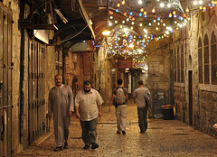 pairs of the night (David Mor) Tags: light loneliness empty muslim jerusalem tourists haloween alleyway prayes nikond90 sigma50