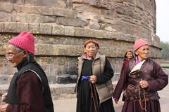 Sarnath, Dhamekh Stupa, Tibetan women (Arian Zwegers) Tags: sarnath dhamekhstupa tibetanwomen women pilgrims buddhism india stupa uttarpradesh 2008 gangesriver ganges gomatiriver gomati deerpark gautamabuddha gautama buddha dharma sangha isipatana pilgrimage dhammacakkappavattanasutta firstteaching enlightenment fournobletruths dhamek dhamekh dhamekha ashoka firstsermon dhamekstupa