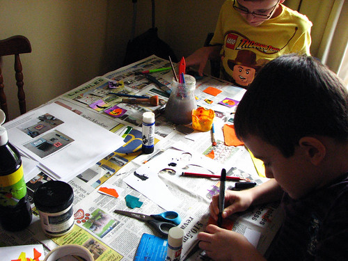 boys work on halloween posters