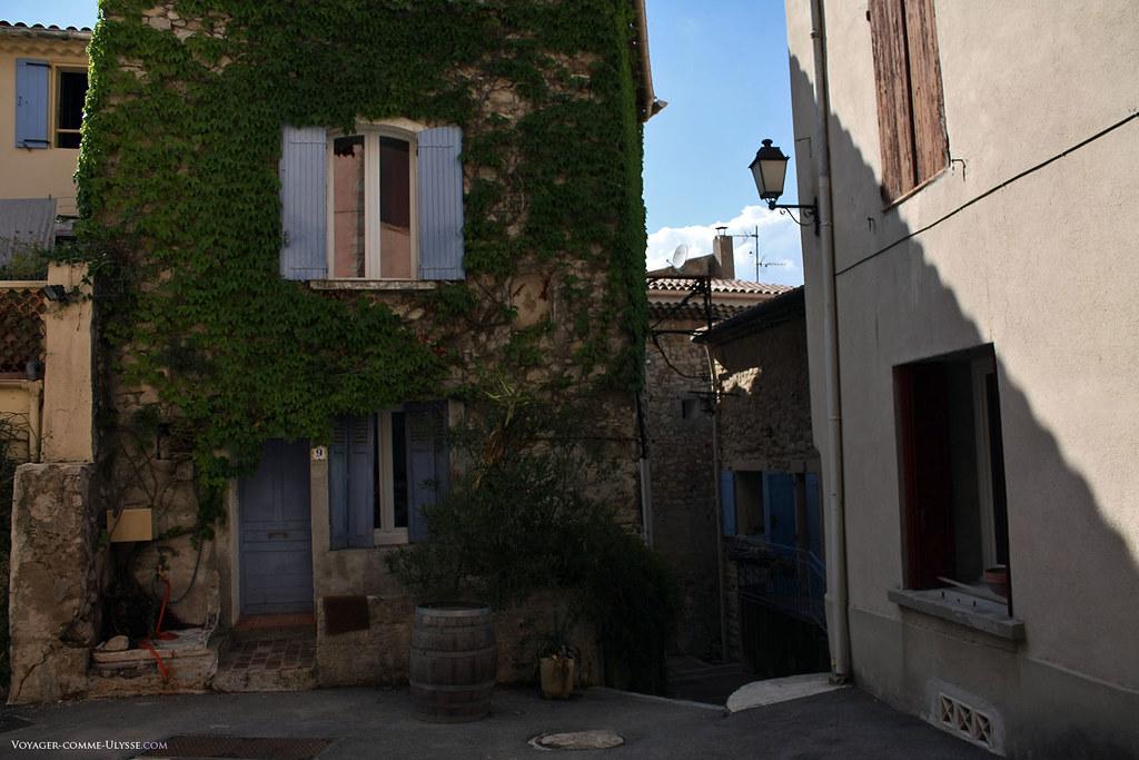 C'est un authentique mur végétalisé à l'ancienne! Cette maison de village typique, à la façade très étroite et aux volets bleus.