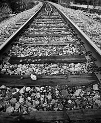 just around the bend (desren) Tags: blackandwhite ontario train traintracks tracks viarail northbay sonya330dslr sigmadc1770mmmacrohsm