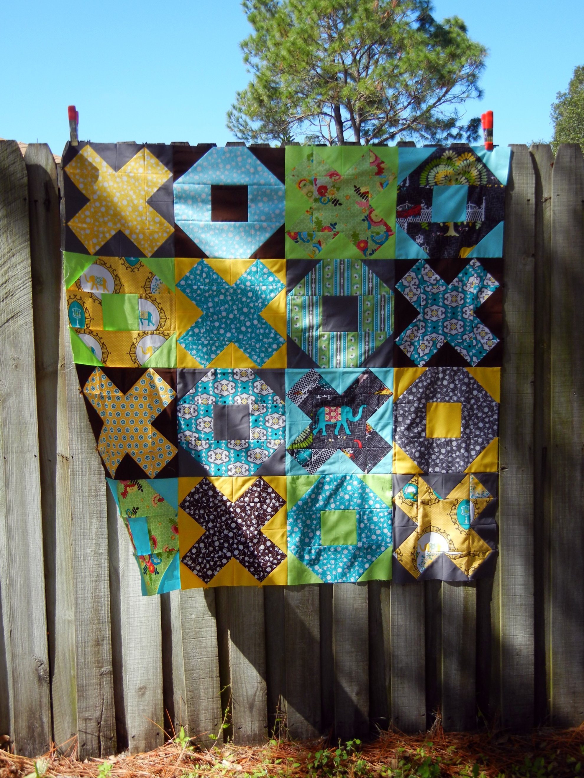 X and O finished quilt top