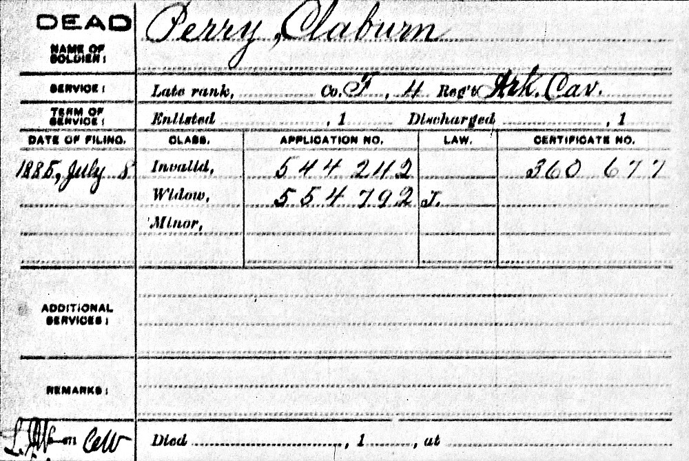Widow's Pension for Claburn Perry?