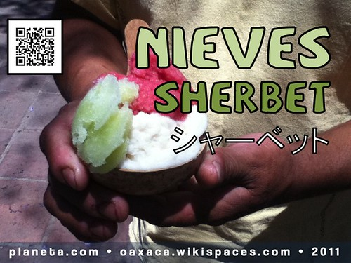 Thank you Ryota Kimura for the Japanese translation of 'Nieves' #market #mercado #food #Oaxaca #wiki #qrcode