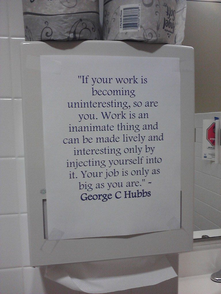 Bathroom Sign In Book from the manager's book of quotes for inspiring workplace paranoia