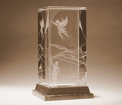 Quest for Freedom - Mark Raynes Roberts (Mark Raynes Roberts, Crystal Artist) Tags: molsonindy glassart susansarandon sunshinemillions architecturalglass mcmasteruniveristy glassengraving kornferry crystalsculpture crystalengraving architecturalglassdesign markraynesroberts crystalartist raynescrystalartdesign top40under40awards