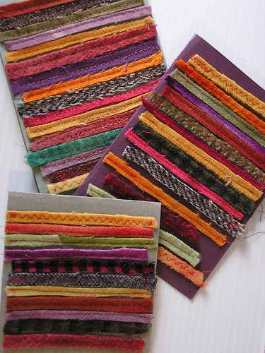 Cards made of wool strips