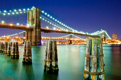 Brooklyn Bridge Nightscape (ajagendorf25) Tags: bridge blue water brooklyn night river lights nikon aqua long exposure manhattan tripod smooth twinkle east hudson 1855 d90 ajagendorf25 alexjagendorf