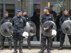 Police in readiness (seikinsou) Tags: brussels summer riot belgium belgique police bruxelles demonstration shield ruedelaloi