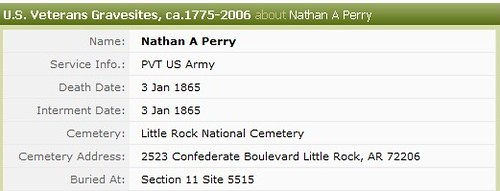 Nathaniel Perry Civil War Union Army Death Discrepency