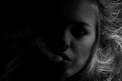 Mystik (Cultivado) Tags: blackandwhite bw woman white black night blackwhite nikon noir sweden stockholm södermalm smoke sverige sv natt filmnoir svart svartvit vit rök kvinna ugglegränd fotosondag fs111120 svartfilm