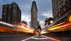 Don't Flatten us - Flatiron District (Philippe Lejeanvre) Tags: street city nyc newyorkcity light woman usa man cars clock sol architecture night danger america nikon couple nightshot angle manhattan femme ground blocked rays horloge circulation flattened rue nuit flatiron devant homme voitures rayons batiment buiding trafic 23rdst phares coincs poselongue longpose traines amerique d700 philippelejeanvre