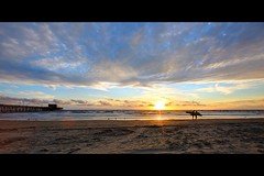newport beach sunset (Eric 5D Mark III) Tags: ocean california sunset sky usa cloud seascape color bird beach water canon landscape photography pier unitedstates surfer seagull atmosphere wideangle newportbeach orangecounty tone ericlo ef14mmf28liiusm eos5dmarkii