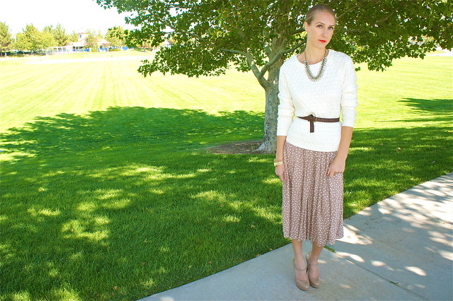 Chunky sweater with polka dot skirt
