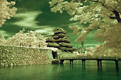 Matsumoto Castle And Moat In Infrared With Green Sky (aeschylus18917) Tags: danielruyle aeschylus18917 danruyle druyle    japan  nikon d70 nature scenery landscape surreal infrared  ir nikond70 castle fort fortress moat architecture d700 nikond700 nagano naganoprefecture  naganoken matsumotocity matsumoto  matsumotoshi matsumotocastle  matsumotoj crowcastle  karasujo keep tenshukaku
