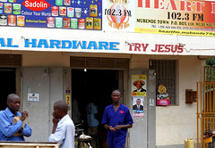 Try Jesus (cowyeow) Tags: poverty africa road street people church sign shop weird hardware store funny god market african faith religion jesus poor belief supermarket wrong badsign irony christianity uganda try ironic funnysign funnyafrica mubende