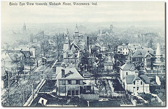 Bird's-eye view toward the Wabash River, Vincennes, Indiana (Hoosier Recollections) Tags: houses people usa man color men history fence buildings churches indiana streetscene porch shops pedestrians storefronts residential businesses vincennes knoxcounty hoosierrecollections