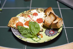 (278/358) (epine) Tags: life red food green cooking its cheese dinner canon cherry bread day good no treats 14 tomatoes egg like goat stuff be basil what 5d supper buttered om eats bryant 50 herb instruction nutrition scannell frittata nourishment nom deliciou