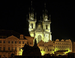 Statue of Jan Hus and Church of our Lady before Tn, Prague, Czech Republic (Jay Ben Images) Tags: summer architecture fairytale night square freedom outdoor landmark communist hero destination charlesbridge oldtownsquare 14thcentury oldcity easterneurope czechoslovakia ironcurtain mainsquare worshp oldsovietbloc wwwjaybenimagescom