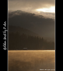 Golden Mist (pDOTeter) Tags: mist lake canada water clouds sunrise landscape gold nikon britishcolumbia boathouse manning lightninglake d90 goldenmist