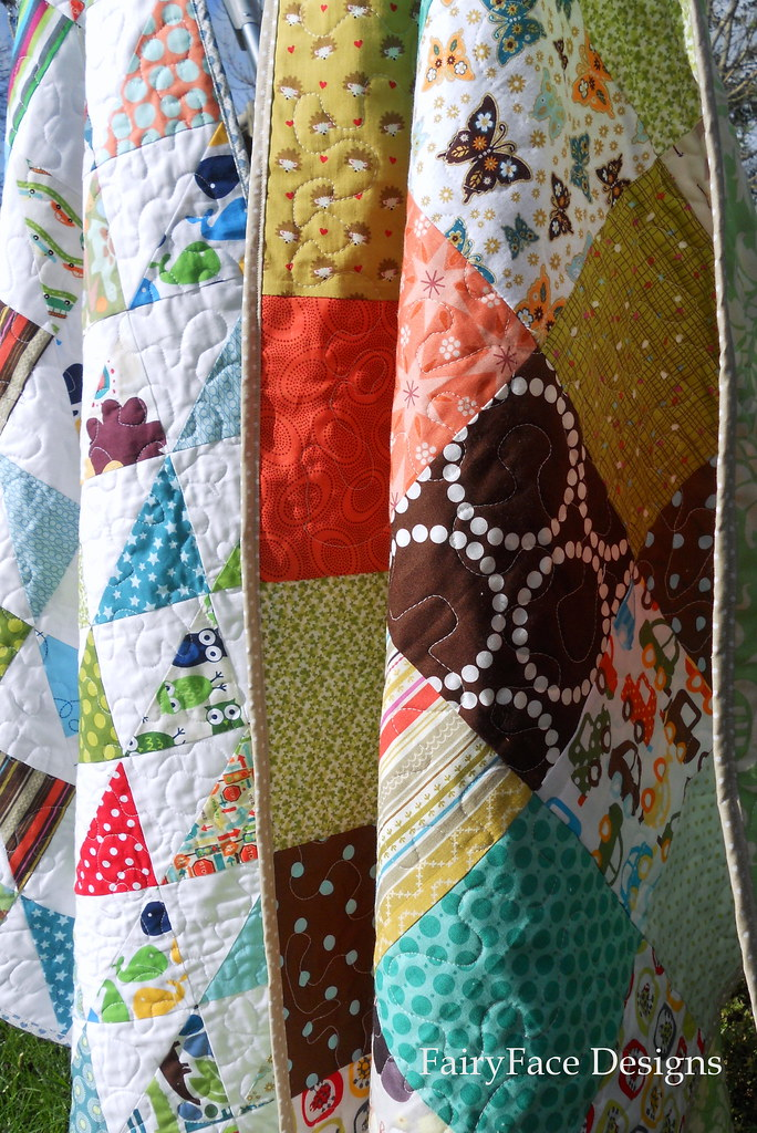Frogs and Snails and Autumn Baby quilt together hanging