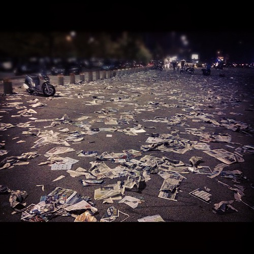 Paper scattered everywhere after the match