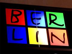 BERLIN (onnola) Tags: blue red orange berlin green rot sign yellow night germany dark deutschland neon nacht schild gelb grün blau mitte reklame dunkel schriftzug
