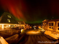 Fishtown ... aurora! (Ken Scott) Tags: autumn panorama usa fall leland october michigan fishtown northernlights auroraborealis leelanau nearthe45thparallel