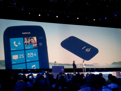 The Nokia Lumia 710, in white, black, and personalised rear facias.