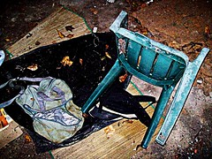 Broken Chair (BACKYard Woods Explorer) Tags: abandonedbuildings lonelychair casinosupplywarehouse october2011 urbexchairs kodakeasysharec713zoom udbanexploration