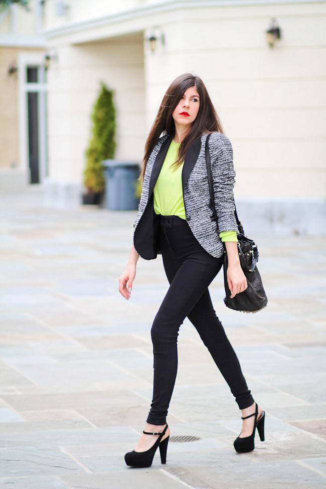Zara blazer, Marni platforms, Fashion outfit, American Apparel riding pants, Neon Yellow Sweater