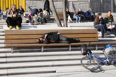 Hamburg, Speicherstadt - Ist die Sitzbank vor der Baustelle Elbphilharmonie belegt, sitzt man auf der Treppe (7) (Chironius) Tags: germany deutschland hamburg baustelle treppe alemania allemagne germania