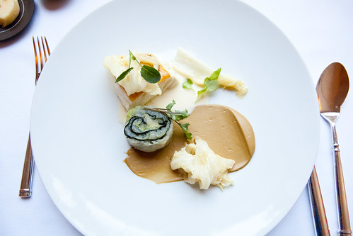 Seared halibut with cabbage, nori, and yuzu