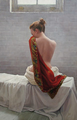 Spring morning light (stephrew) Tags: art female painting nude landscape scotland realist oil classical kimono newwork figurative realism representaional