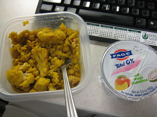 cauliflower, curry rice and fage