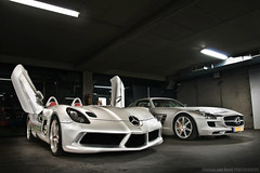 The Batcave (Thomas van Rooij) Tags: lighting light slr cars netherlands dutch car silver dark photography mercedes batcave moss nikon doors open thomas stirling garage basement nederland bert automotive exotic mclaren mercedesbenz rare cellar coupe exclusive supercar dealership sls amg dealer exotics cardealer supercars combo roadster veenendaal hypercar stemerdink rooij thomasvanrooij