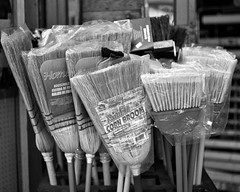 Time To Clean Up And Move on (Let There Be More Light) Tags: sf sanfrancisco california ca blackandwhite bw slr 120 rollei mediumformat 645 pentax analogue r3 broom foundinsf rollfilm 75mm gwsf