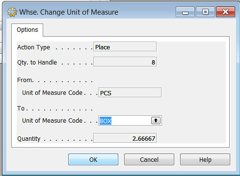 Change Unit of Measure - Whse. Change Unit Of Measure
