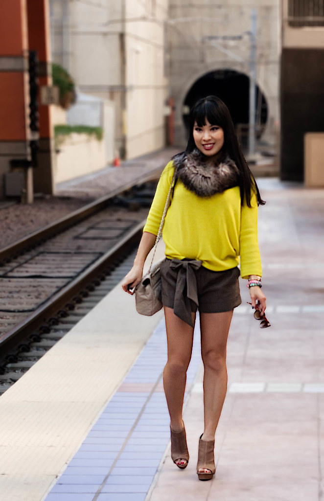 asos fur snood, gap neon drop shoulder sweater, express 2 1/2 belted taupe shorts, yesstyle quilted beige flap purse, t+j designs purple rhinestone ribbon bracelet, michael kors small runway rose gold watch mk5430, sole society marco santi kerries nude peep-toe perforated booties