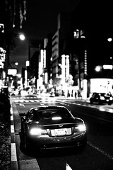Aston Martin DBS (b/w) (DJF-solo) Tags: life street city light portrait food streets cars car japan night zeiss portraits buildings frank temple photography lights tokyo ginza shrine downtown bokeh district candid sony portraiture carl temples koi intersection 28 asakusa shrines 70200 f28 astonmartin withers carlzeiss 2011 2470 a850 sal70200g cz2470t