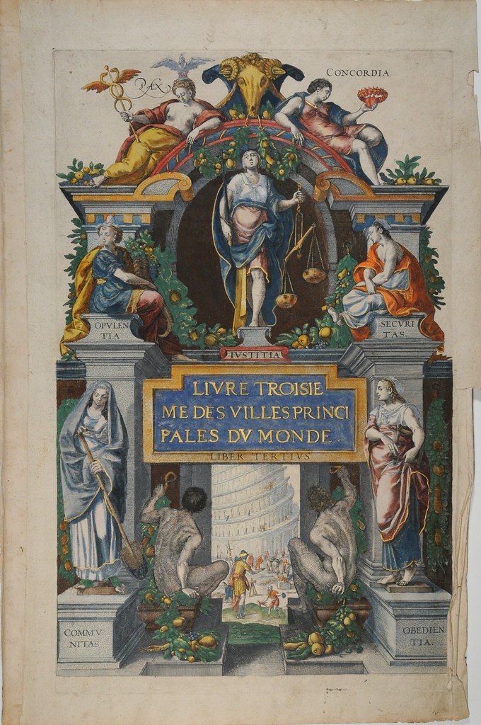 title page: ornate funereal-like monument adorned with classical figures