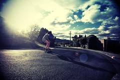 (Hani Amir) Tags: cruise blue sun clouds lens board wide australia skate adapter longboard flare skateboard hobart lush vignette