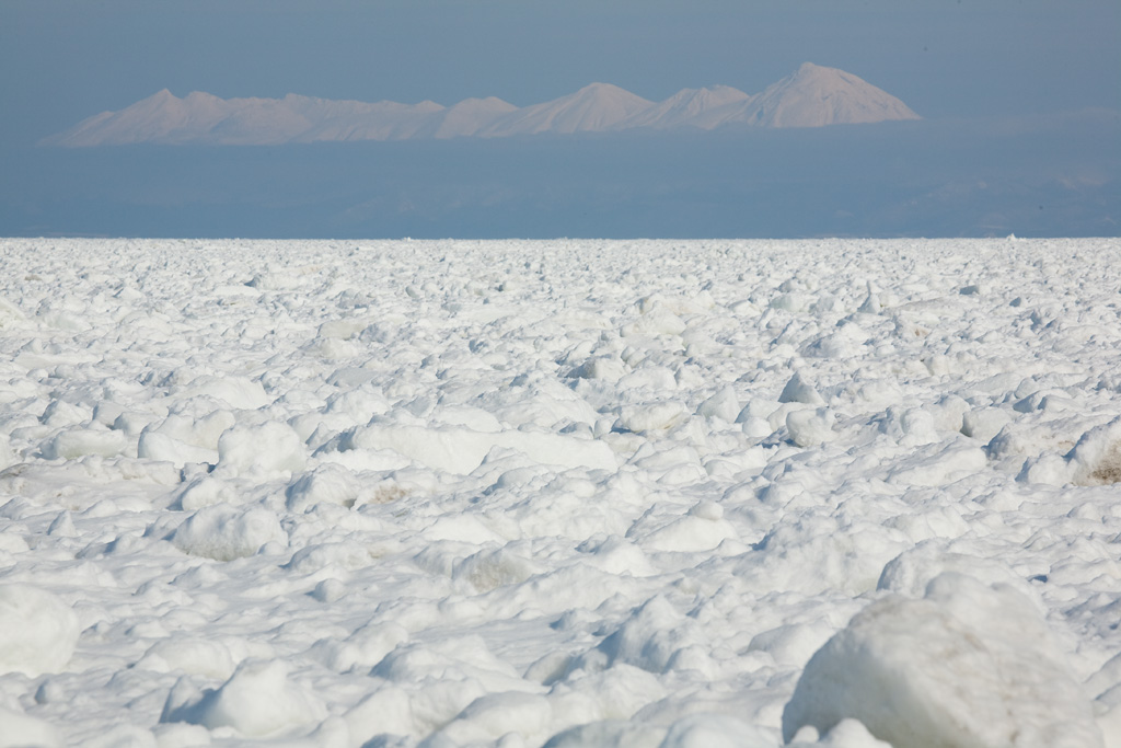 Drift ice and Shiretoko mountain range