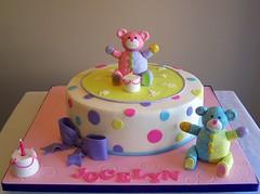 Bears birthday cake (cakespace - Beth (Chantilly Cake Designs)) Tags: bear pink toronto green girl cake beth pastel polkadots birthdaycake bow teddybear mississauga buildabear cakespacebeth braziliancakestoronto