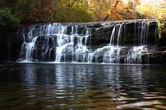 Locust Fork Falls (night2061) Tags: autumn fall nature water leaves creek canon reflections river landscape rebel waterfall birmingham woods alabama xsi 2011 locustfork warriorriver night2061 dylanbrazil